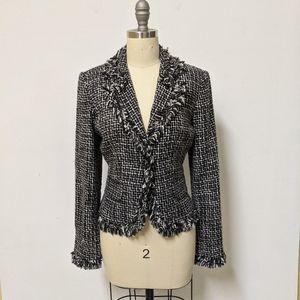 Harold's Tweed Fringe Blazer Jacket Black White 4